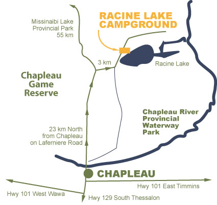 Map to Racine Lake